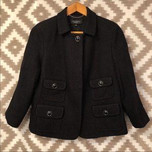 Talbots Black Short Dress Coat One Button Pockets